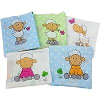 byboom–Gasas–Pañales de tela–para Vómitos paños–Multicolor–70x 80cm–5Pack, 100% algodón;