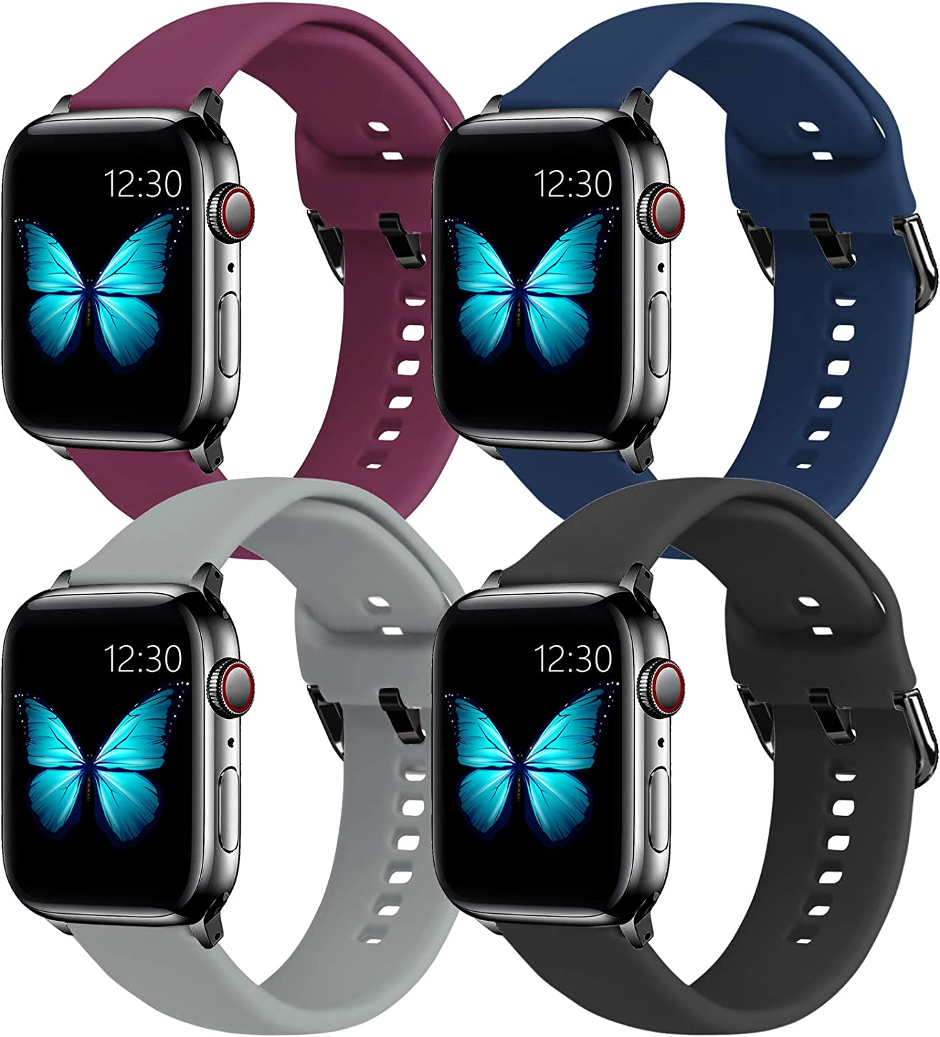 eseekgo 4 Pack Compatible with Apple Watch Band 40mm Series 5 Series 6 SE 4 Series 3 38mm Sport Band, Soft Silicone Bands for iWatch Series 2 1 for Women Men [Black+Gray+Navy+Fuchsia, S/M]