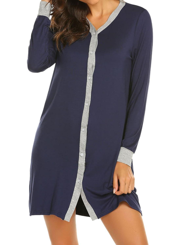 c980698233 Ekouaer Sleepwear Women s Casual V-Neck Button Down Nightshirt Long Sleeve  Soft Classic Knit Cardigan Nightgown S-XXL at Amazon Women s Clothing store
