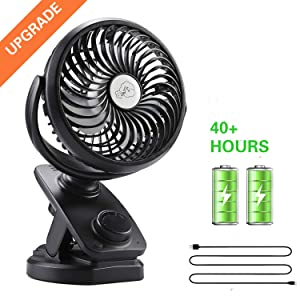 Yostyle Rechargeable Battery Operated Clip On USB Fan, Mini Stoller Fan, 4400mAh Battery/USB Powered Desk Fan with 360 Degree Rotation for Baby Stroller, Office, Car, Gym, Travel, Camping