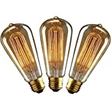 KJLARS 3 x Vintage ST64 Edison Bombilla Lámpara de filamento incandescente de E27 industrial retro Bombillas 60W