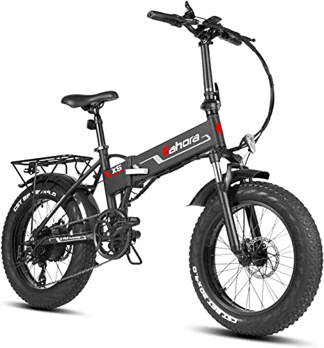 Eahora X5 20 Inch 4.0 Fat Tires Folding Electric Bike 48V 10.4Ah Snow Beach Electric Bicycle Lithium Battery 500W Front Suspension Ebike for Adults E-PAS Power Recharge System, 8 Speed, Plus Version