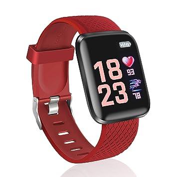 TDOR Pulsera de Actividad Reloj Hombre Mujer Deporte con Notificaciones, Color Rojo