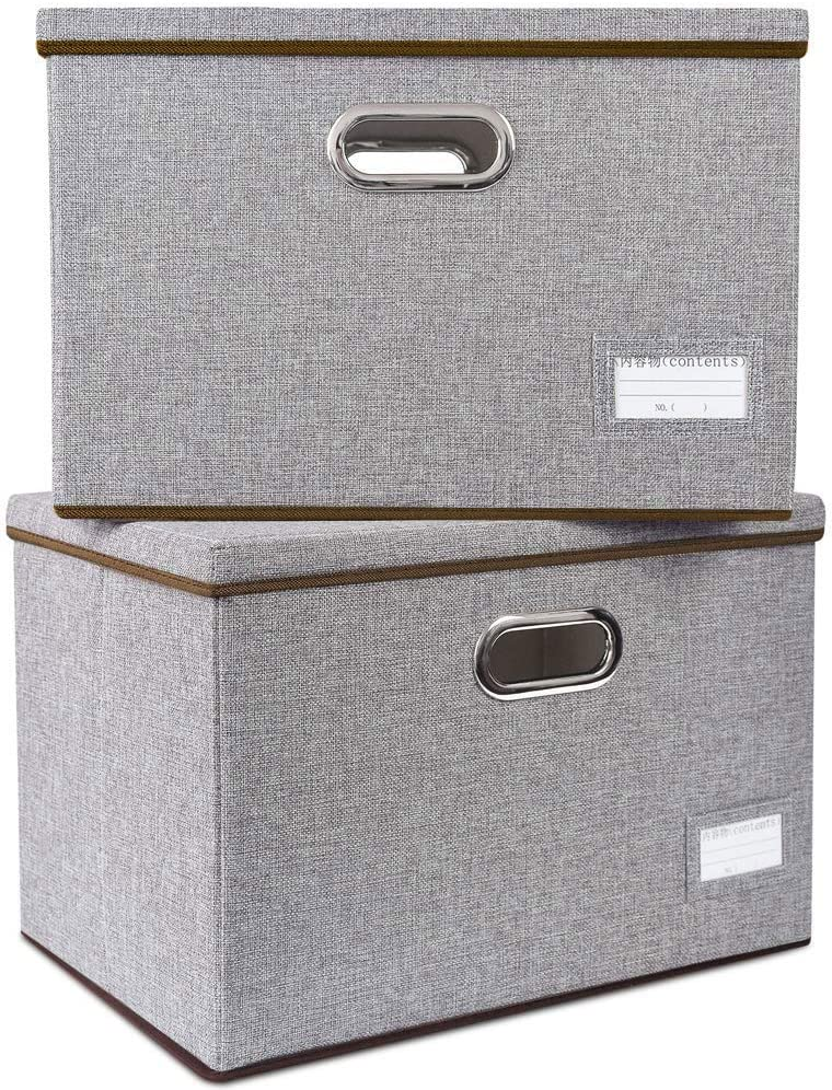 2-Pack /… KAGEEK Large Foldable Storage Boxes with Lids 17.7x11.8x11.10 Jute Fabric Collapsible Storage Bins Organizer Containers Baskets Cube with Cover for Home Bedroom Closet Office Nursery