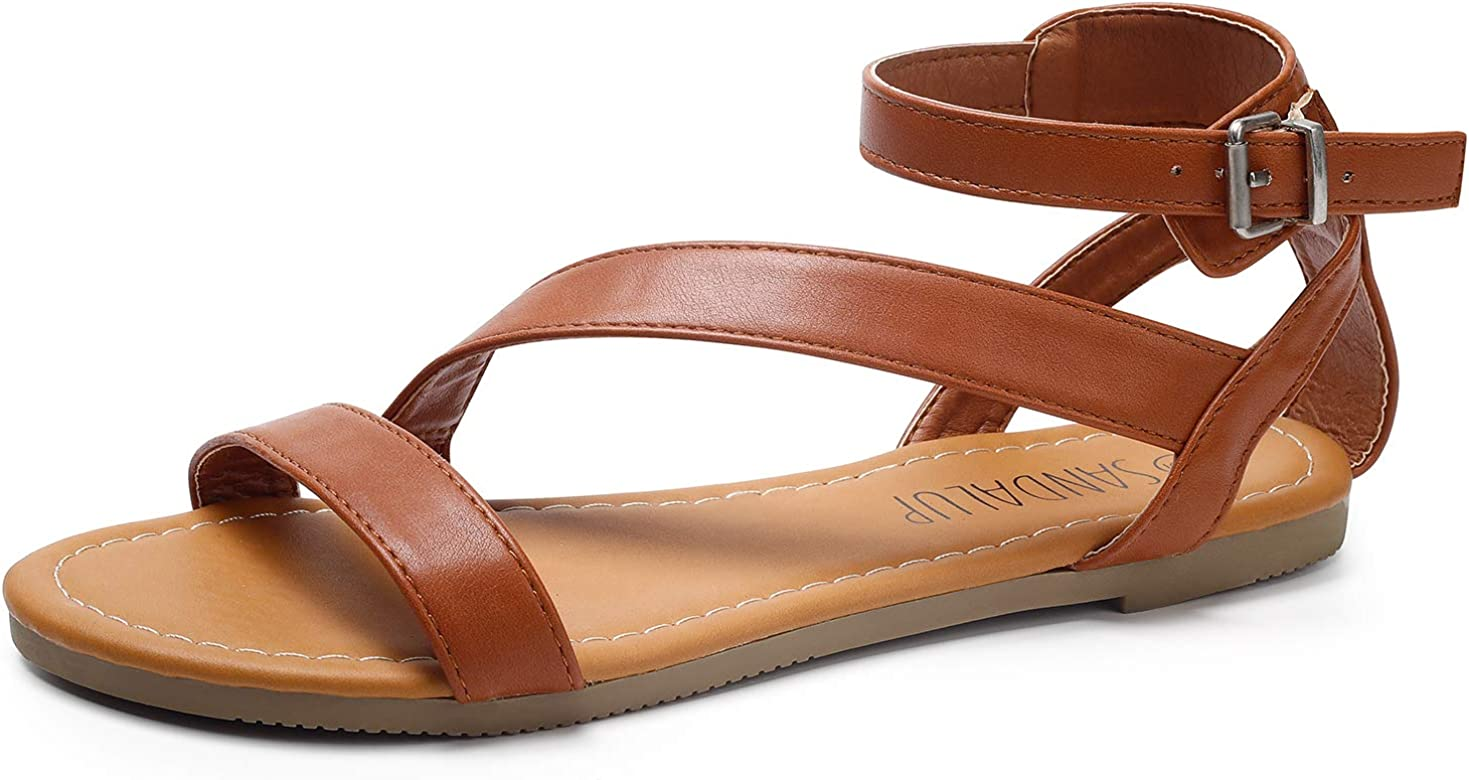 SANDALUP Flat Sandals with Round Rivets and Adjustable Buckle for Women