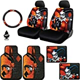 New Design 10 Pieces DC Comic Harley Quinn Car Seat Covers Floor Mats and Steering Wheel Cover Set with Air Freshener