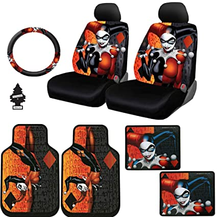 New Design 10 Pieces DC Comic Harley Quinn Car Seat Covers Floor Mats And Steering Wheel