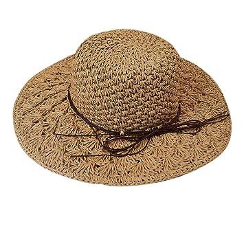 Elegant Women/'s Floppy Derby Straw Sun Hat Wide Brim Summer Beach Protect Hats
