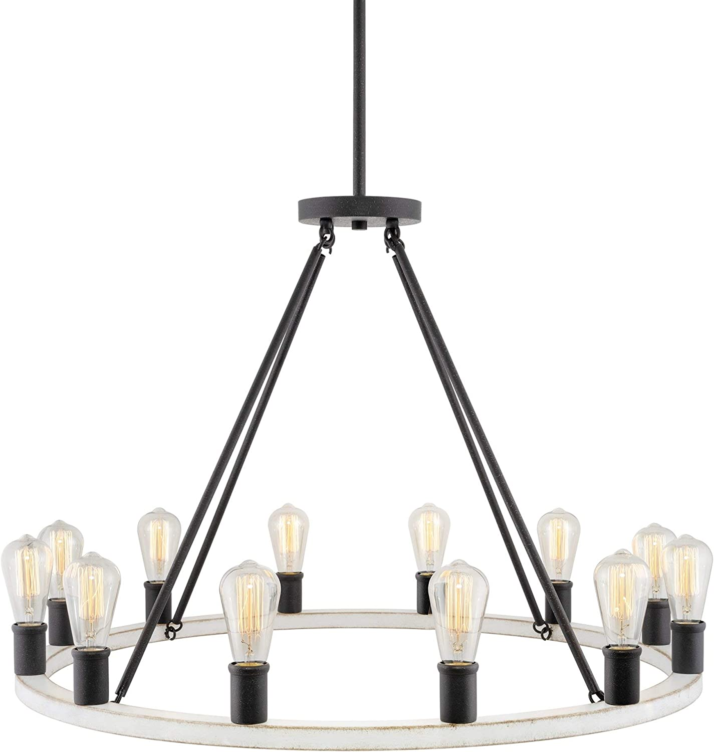 Kira Home Jericho 25 6-Light Large Industrial Rustic Farmhouse Wagon Wheel Chandelier Warm Brass Accents Round Kitchen Island Light May Include Minor Blemishes//Inconsistencies Black Finish