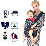 Kiddale Cotton Baby Carrier Sling Bag with Head Protector,Detachable Hip Seat Adjustable Waist Strap for 30-45inch waist Blue