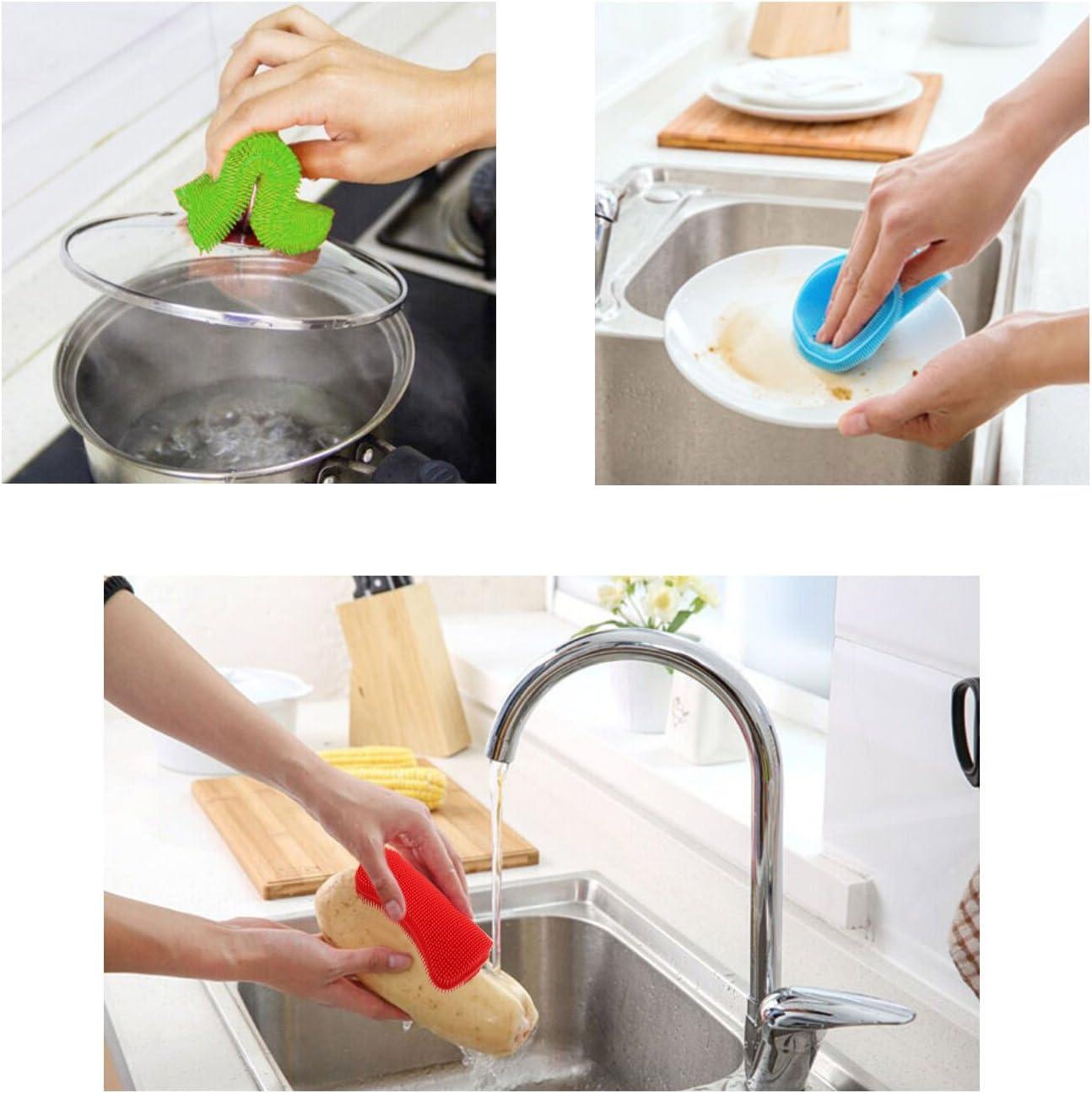 Kitchen Silicone Sponge 1 Pack Anti-Bacterial Cleaning Scrubber Pot Holder Multipurpose Dish-Washing Mildew Free Brush for Dish Vegetables Baby Bottles