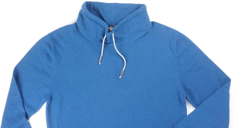 Eleventy New $595 Platinum 100/% Cashmere Denim Blue Funnel Neck Sweater Size M