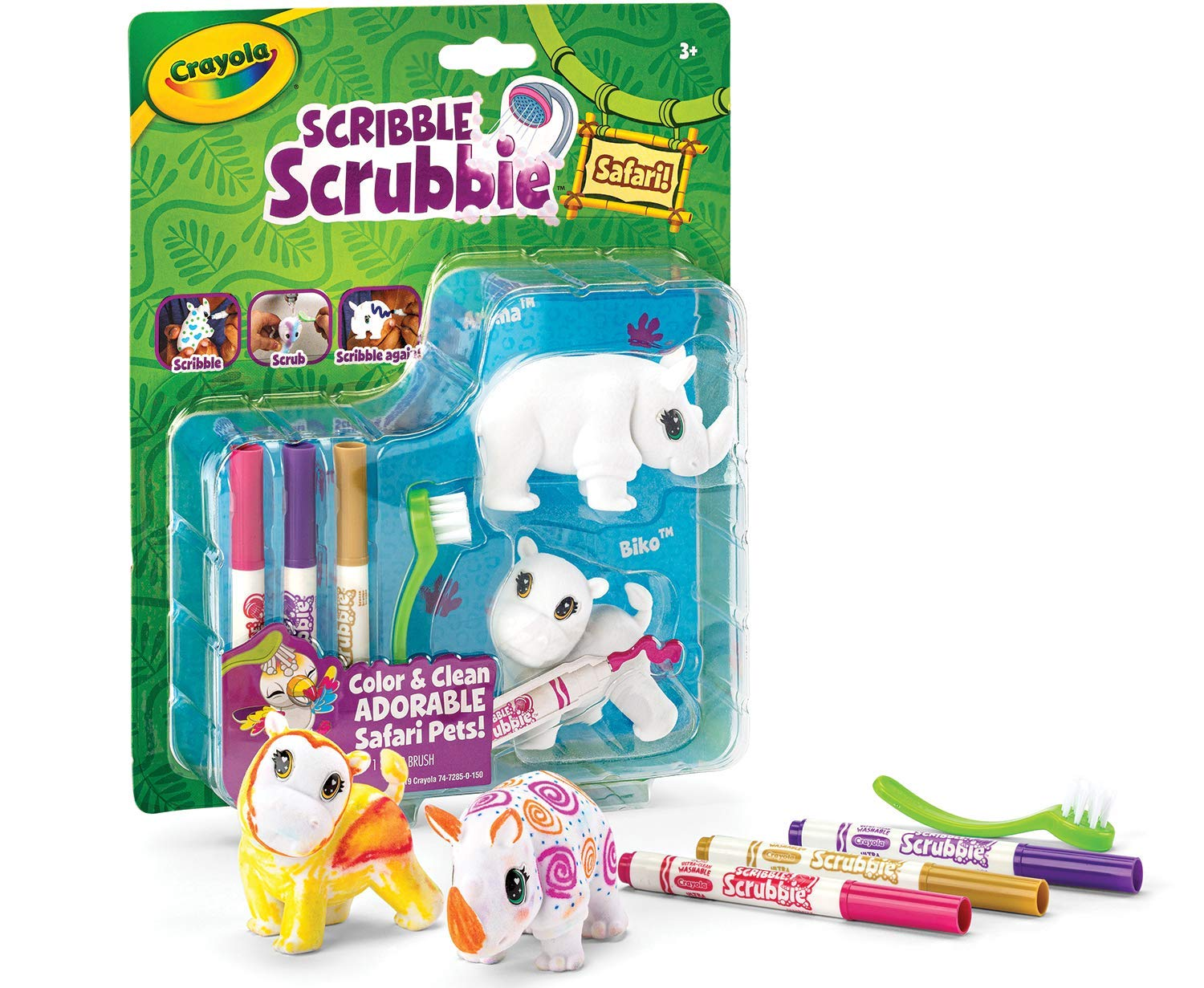 Crayola Scribble Scrubbie Safari Expansion Animal Toy Set, Edad 3+