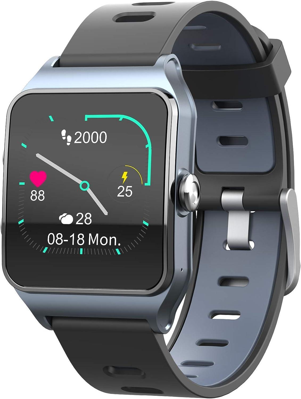 Funker T9 Track Master Gris Smartwatch para Hombre o Mujer Impermeable IP68 Pantalla Táctil Pulsera de Actividad Bluetooth con GPS y Monitor de Ritmo Cardíaco para iOS Android