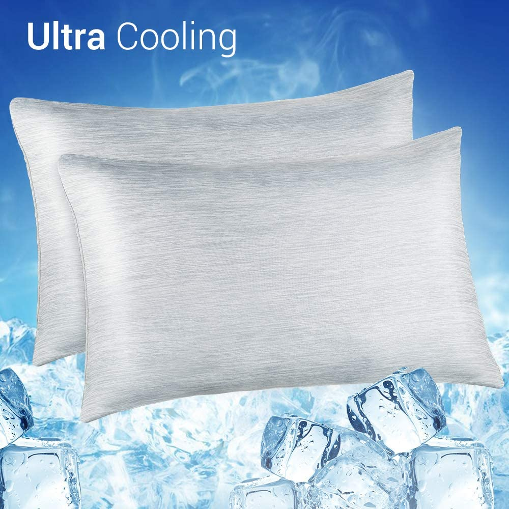 LUXEAR Cooling Pillowcase, 2 Pack Cooling Pillow Cover with Japanese Q-Max 0.55 Cooling Fiber, Breathable Soft, Cooling Eco-Friendly, Hidden Zipper Design, Standard Size(20x26 inches)-Gray