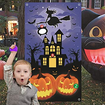 Halloween Party Decoration Supplies Witch Birthday Party Supplies Witch Game Banner Witch Toss Games with 3 Bean Bag Fun Witch Game for Kids and Adults in Halloween Party