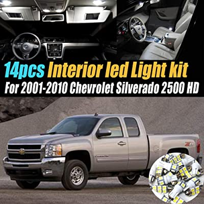14Pcs Super Bright White 6000K Interior LED Light Kit Pack Compatible for 2001-2010 Chevrolet Silverado 2500 HD: Automotive