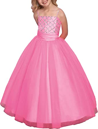 Fashion Ball Gown One Shoulder Beads dress Pageant Party Dance Flower Girl Dress
