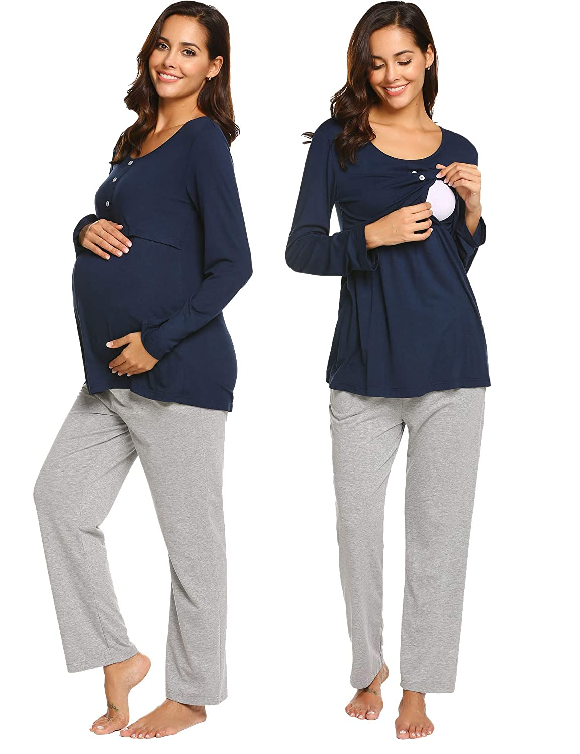 Ekouaer Women's Maternity & Nursing Pajamas Set Long Sleeve Tops and Long Pants Sleepwear Set *EKV007149