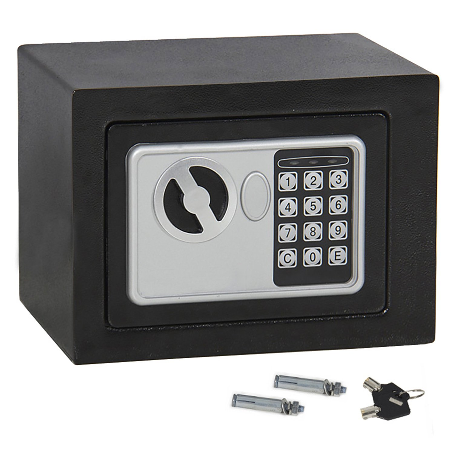 F2C Single/Double Door Digital Electronic Security Safe Box with Two Keys, Digital Lock for Gun Cash Jewelry Valuable Office Home Hotel, Solid Steel (E17)
