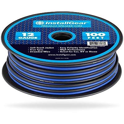 InstallGear 12 Gauge Speaker Wire (100-feet - Blue/Black): Home Audio & Theater