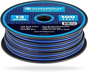 InstallGear 12 Gauge Speaker Wire (100-feet - Blue/Black)
