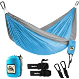 "Double Camping Hammock - Wolfyok Lightweight Portable Nylon Hammock with Parachute Nylon Ropes and Solid Carabiners for Backpacking, Camping, Travel, Beach, Yard, 126""(L) x 78""(W) Support Up to 660lbs"
