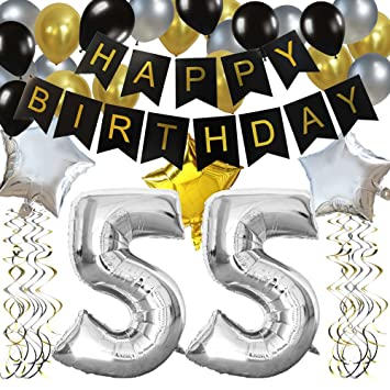 KUNGYO Classy 55TH Birthday Party Decorations Kit Black Happy Brithday BannerSilver 55 Mylar