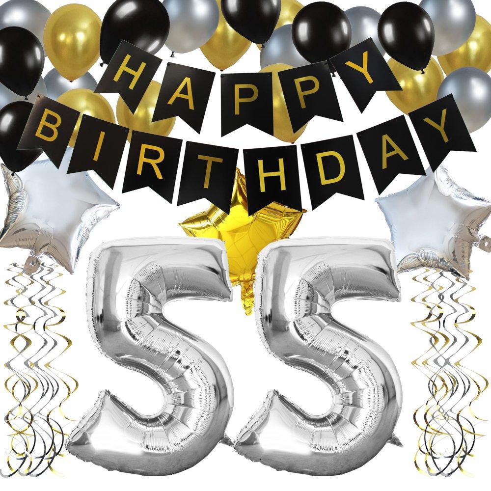 KUNGYO Classy 55TH Birthday Party Decorations Kit Black Happy Brithday BannerSilver 55 Mylar