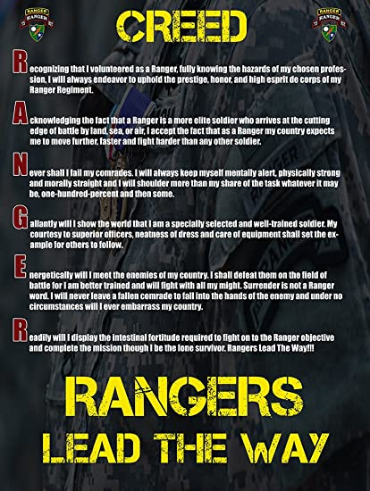 4ba2567191f5 Amazon.com  Army Rangers Poster 18x24 Rangers Creed Military Gifts ...