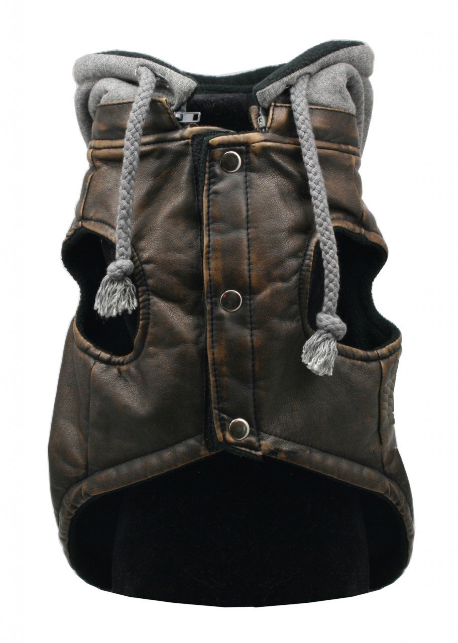 Hip Doggie Vintage Bomber Jacket w/Removable Fleece Hood (Medium)
