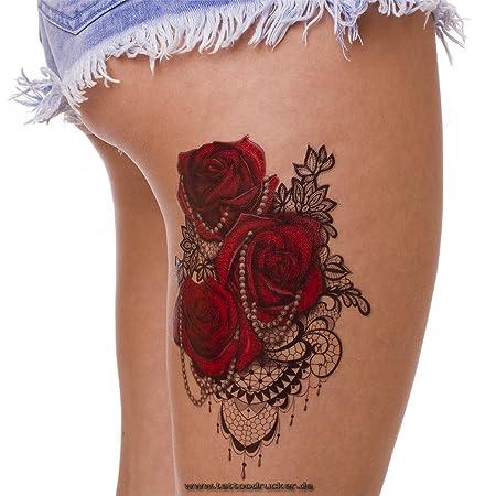 Cadena + rosas rojas + Cuerpo - Adhesivo Pegatina XL temporäres ...