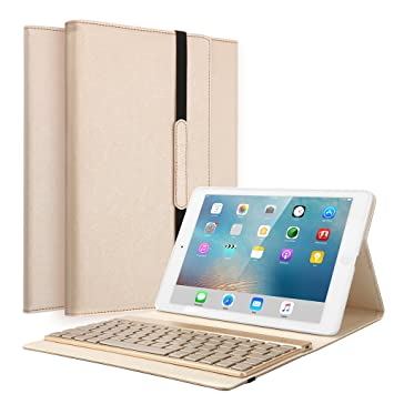 Funda para iPad 2 iPad 3 iPad 4, KVAGO Ultra Slim PU Funda de cuero Folio funda de teclado desmontable Bluetooth / Funda con 7 colores de luz de ...