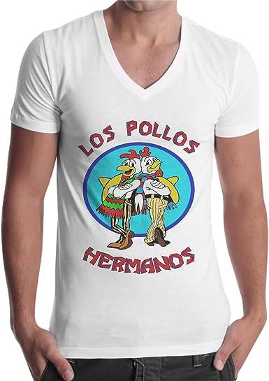 Camiseta de hombre con cuello de pico, de los Pollos Hermanos, de Breaking Bad: Amazon.es: Ropa y accesorios