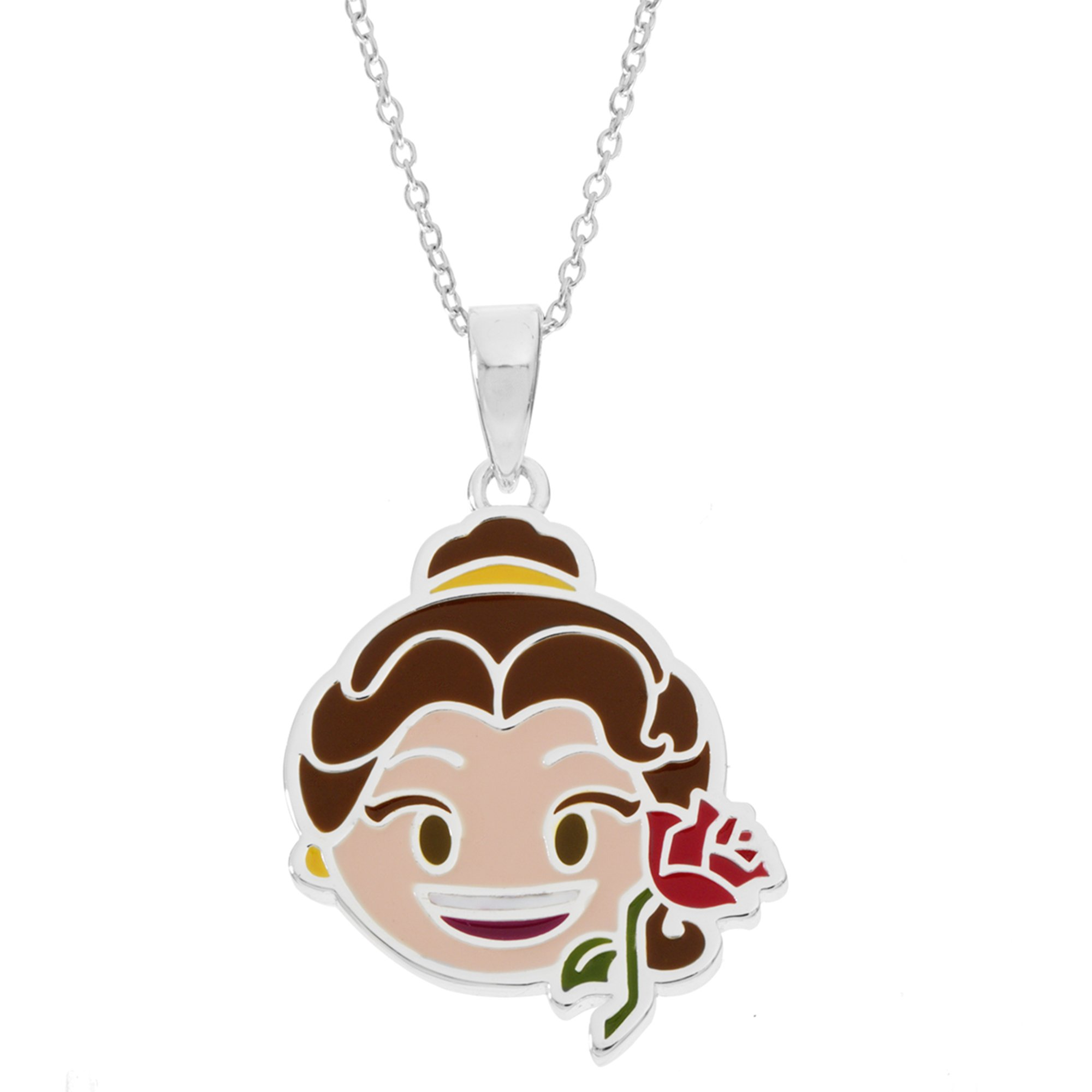 Disney Women's and Girls Jewelry Beauty and The Beast Belle Silver Plated Pendant, 18'' by Disney (Image #1)