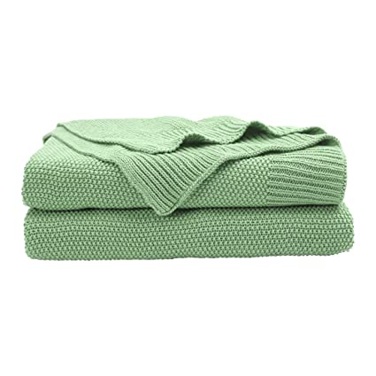 PICCOCASA 100% Cotton Knit Throw Blanket,Lightweight Solid Decorative Sofa  Throws Soft Pale Green Knitted Throw Blankets for Sofa Couch,50\