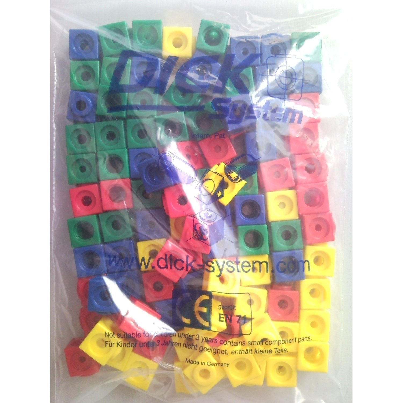 100 Steckwürfel 4-farbig (rot, gelb, grün, blau), 1,7cm, allseitig steckbar grün Dick-System