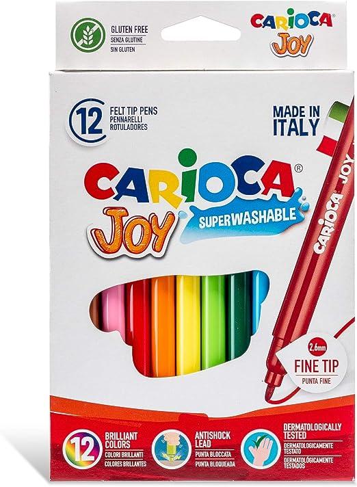 Carioca - Caja de rotuladores con tinta lavable, punta fina sintética, 12 unidades, multicolor: Amazon.es: Oficina y papelería