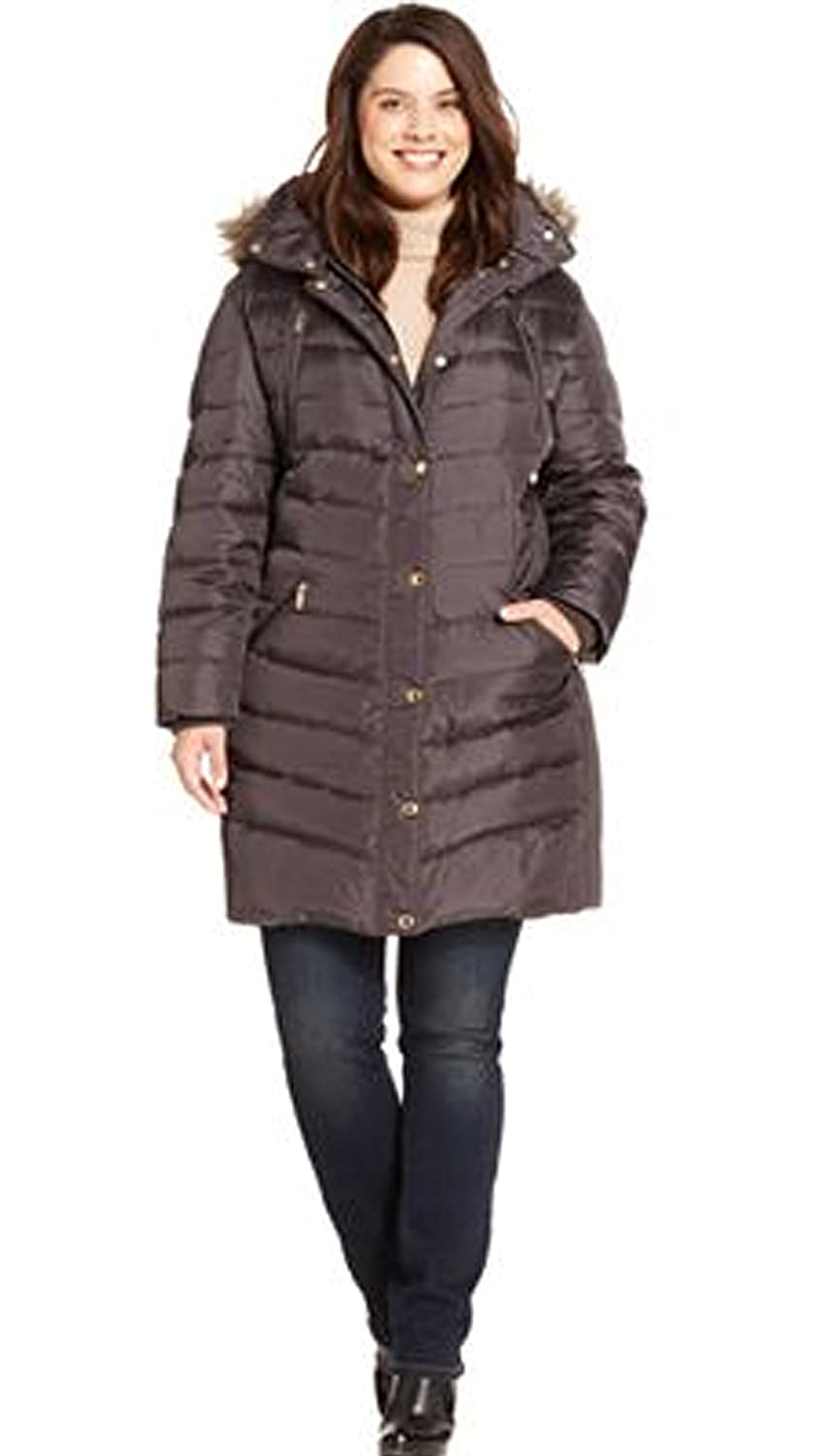 e1258c2dad538 Amazon.com  Michael Kors Plus Size Hooded Faux-fur-trim Puffer Coat (3X)   Clothing