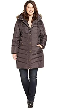 7d4496837495e Amazon.com  Michael Kors Plus Size Hooded Faux-fur-trim Puffer Coat ...