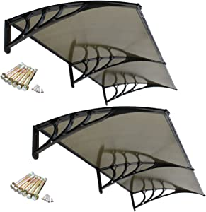 """SUPER DEAL 2 Pack of 40"""" x 80"""" Overhead Door Window Outdoor Awning Door Canopy Patio Cover Modern Polycarbonate Rain Snow Protection (Brown)"""
