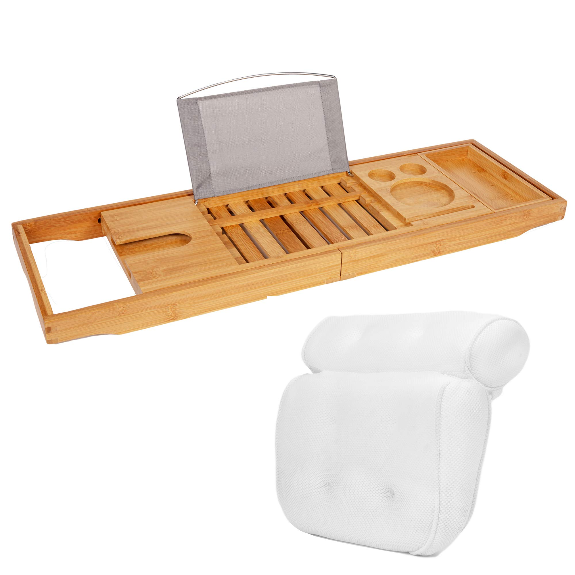 TRIXES Premium Bamboo Bath Caddy and HQ Luxury Bath Pillow Headrest - 2-in-1 - Spa Relaxation Experience for Bathrooms - Wine Holder - Book Stand Rack Phone Slot - Candles - Side Tray -Tablet Stand