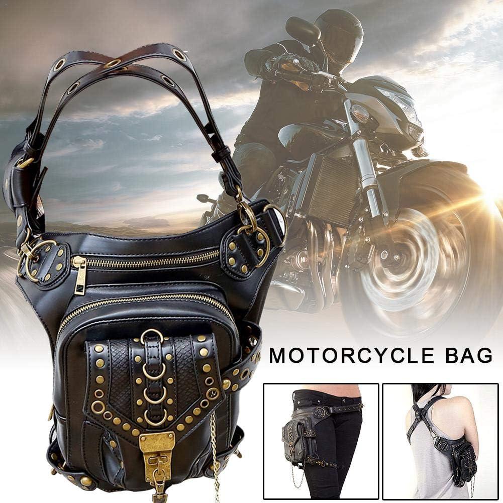 Bolso De Pierna Caida Retro Rock Gothic Bag para Mujer Bolsa De Moto Retro Steampunk Childlike Ri/ñonera para Mujer