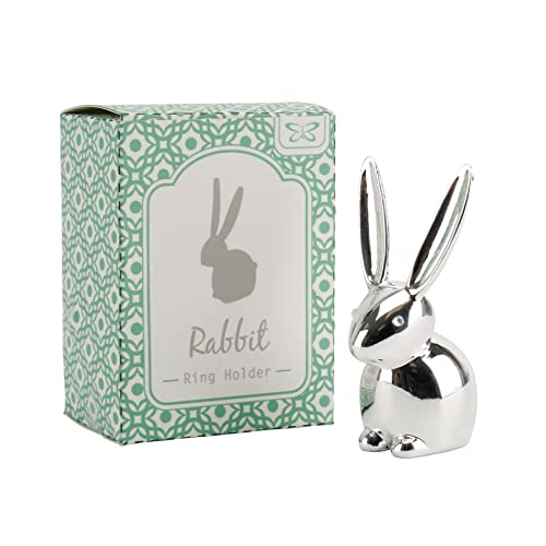 Vintage My Bunny Rabbit Pet Animal Jewellery Ring Display Holder Organiser Stand, Silver Colour Chrome Bunny Ring Holder