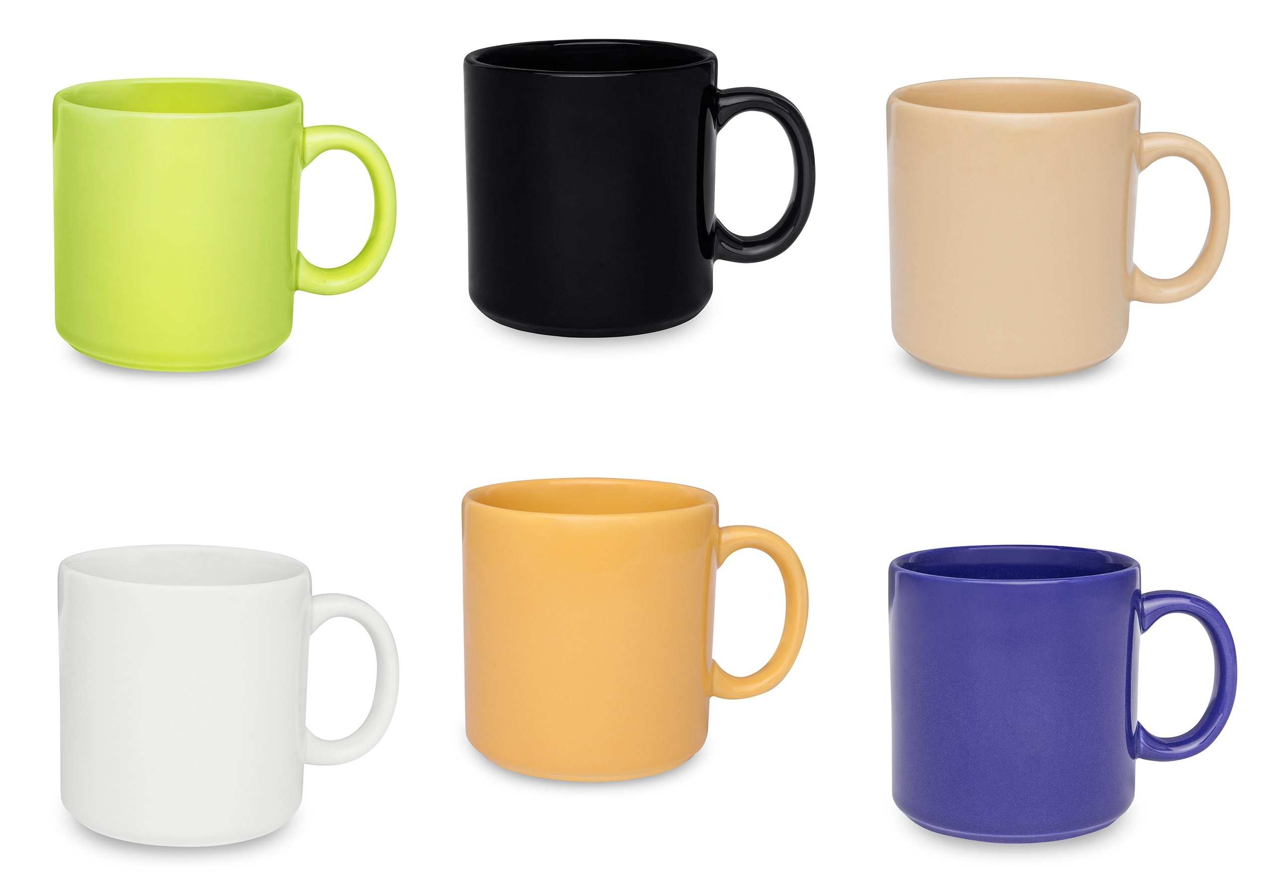 Oxford Biona Mugs For Coffee, Tea or Chocolate (Set of 6)- 12 oz- Multicolor