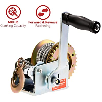 Aceshin Heavy Duty Hand Winch, 600lbs Hand Crank Strap Cable Gear Winch ATV Boat Trailer: Home Improvement