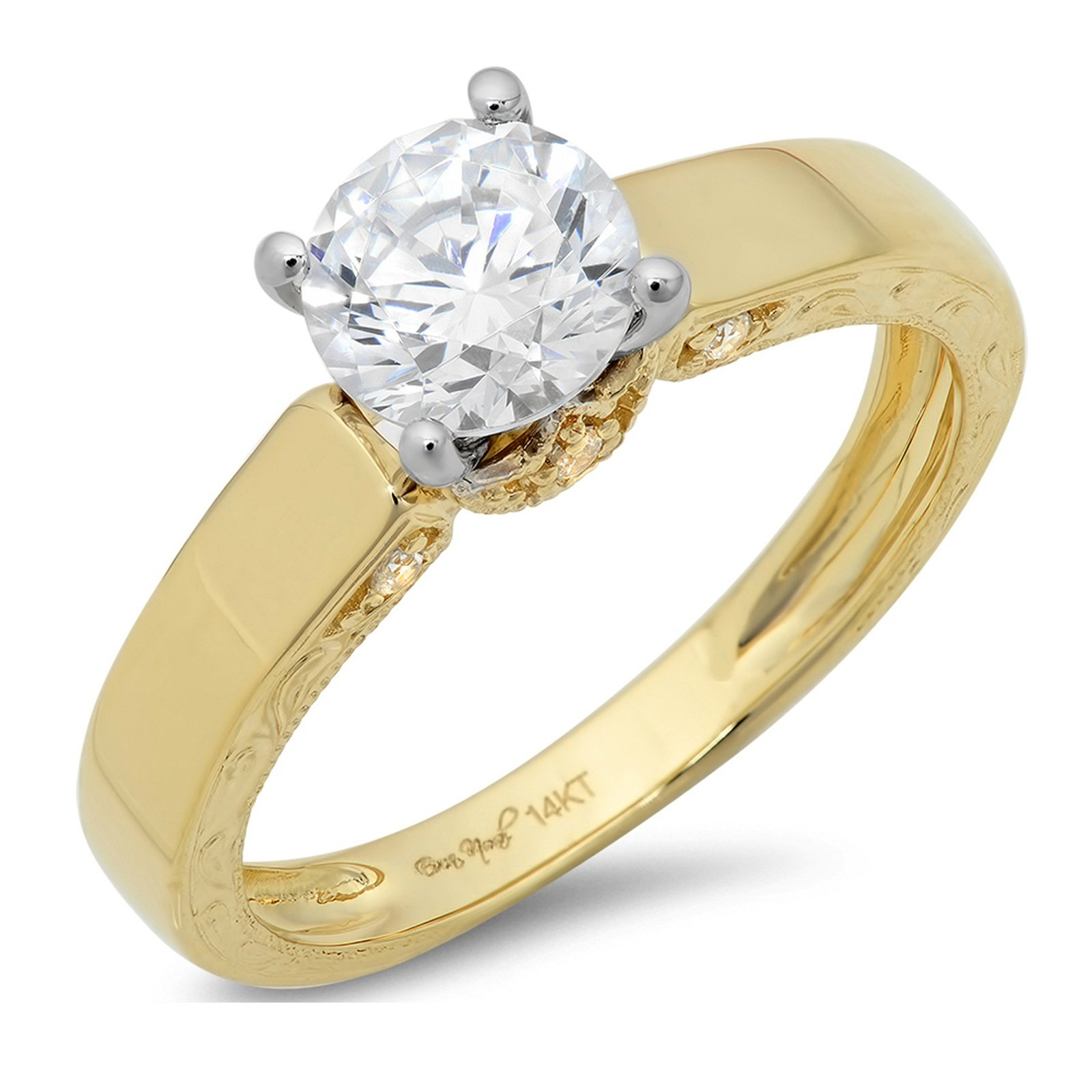 Clara Pucci 1.6 CT Round Cut Promide Bridal Engagement Wedding Ring 14k Yellow White Multi Gold, Size 10.5 by Clara Pucci
