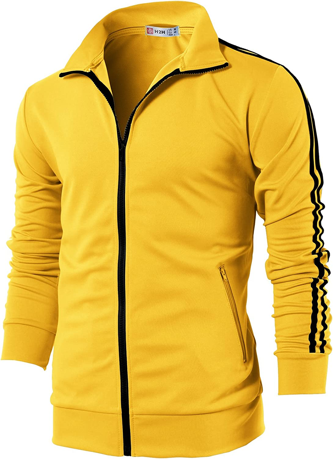 H2H Mens Active Slim Fit Track Lightweight Jacket Zip-up Long Sleeve Training Basic Designed at  Men's Clothing store