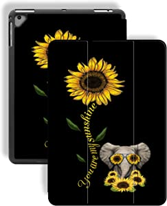 iPad 9.7 2018/2017/iPad Air 2 Case,Cute Elephant anf Sunflower Pattern PU Leather Slim Soft TPU Back with Pencil Holder Cover for iPad 9.7 Inch 5th/6th Generation(Auto Wake/Sleep)