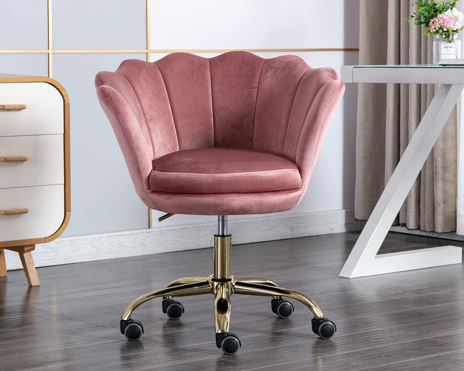 Chairus Home Office Chair, 360°Swivel Velvet Makeup Chair with Golden Base for Girl, Height Adjustable, Dusty Rose Pink